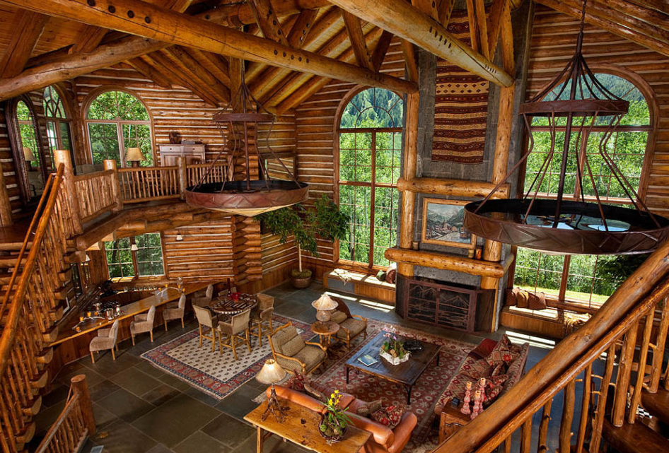 Poll which rustic great room do you prefer homes of for Luxury log home interiors