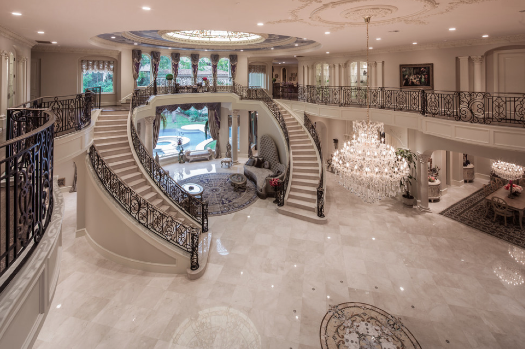 Mediterranean mansion in houston tx with amazing foyer for Mansion foyer designs