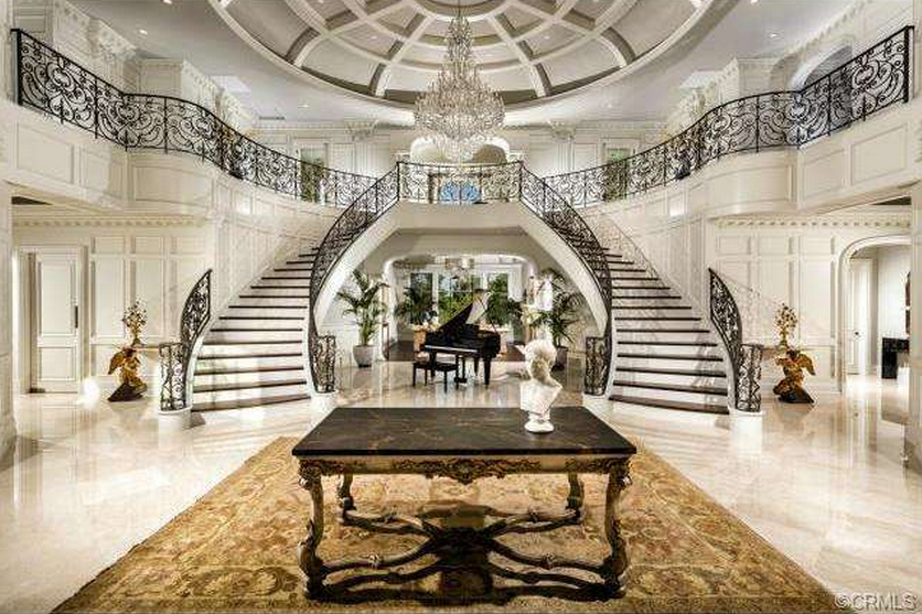 11 8 million 13 000 square foot newly built mansion in for Mansion foyer designs