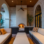 Lower Covered Terrace w/ Fireplace