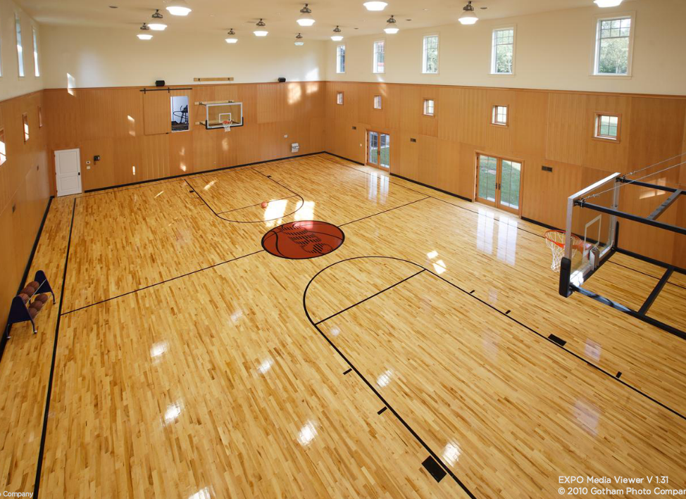 8 5 million 25 000 square foot mega mansion in saratoga for Indoor basketball court plans