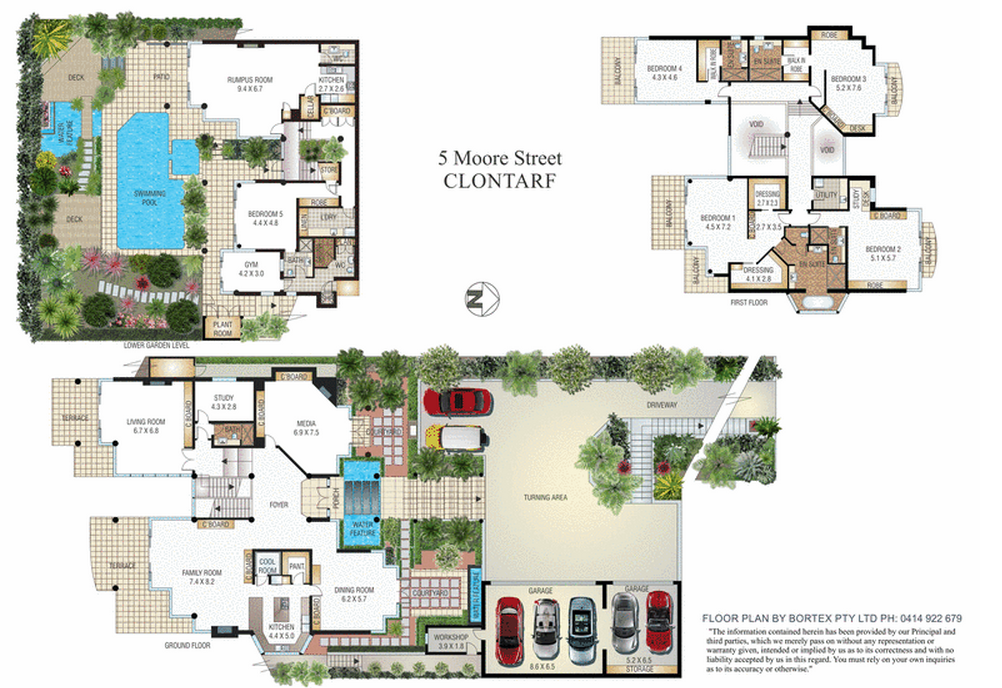 9 600 square foot contemporary mansion in new south wales for Miami mansion floor plans
