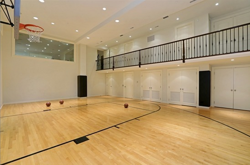 House plans with basketball court in garage for Home plans with indoor sports court