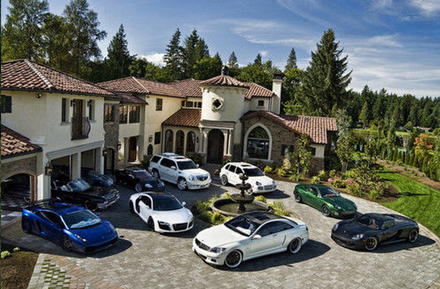 A Look At Some Mansions With Expensive Cars Parked In Front Homes