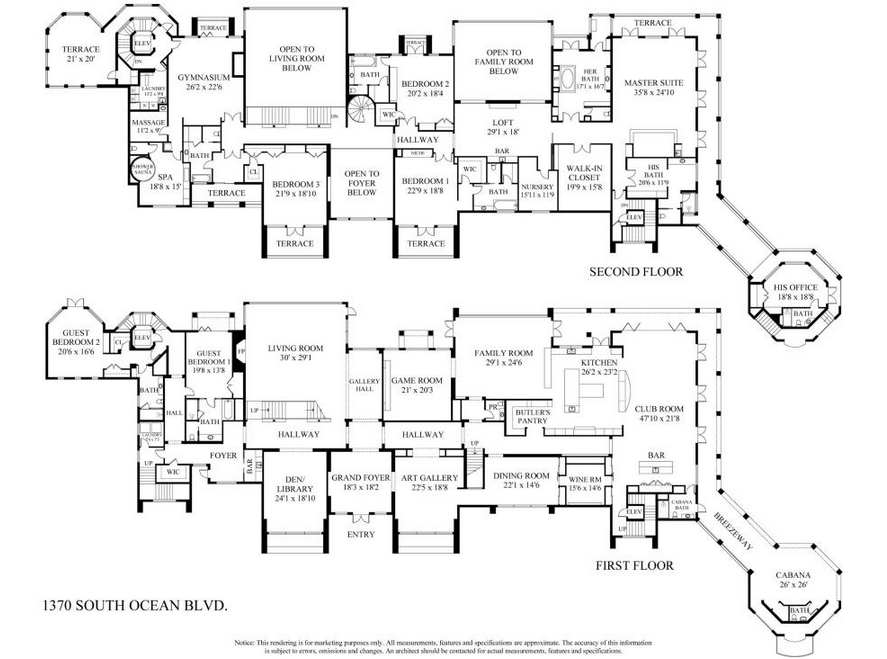 29 million newly listed 30 000 square foot oceanfront for Mega mansion floor plans