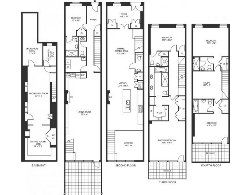 4 story townhouse floor plans for Townhouse floor plans