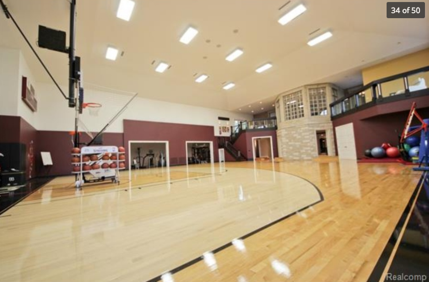 19 000 square foot mansion in oakland township mi with for Indoor basketball court installation