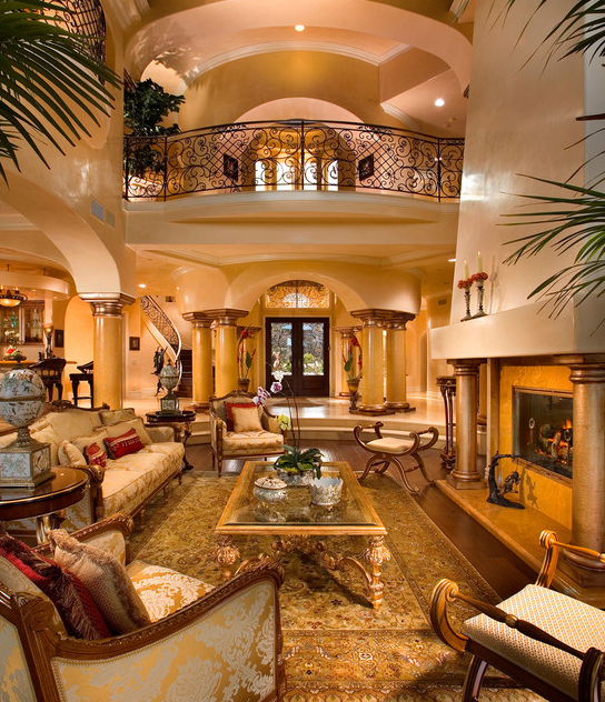 2 story great rooms homes of the rich for Mediterranean living room