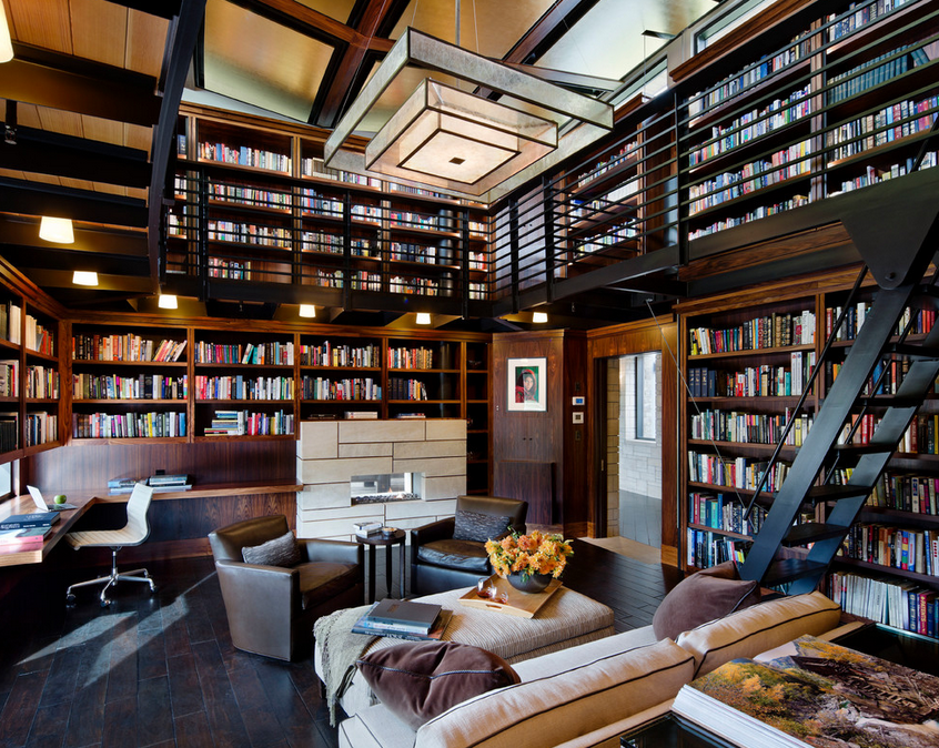 2 story libraries homes of the rich - Building a home library ...