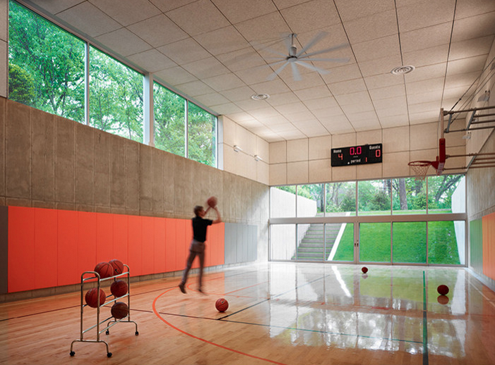 Indoor basketball courts homes of the rich for Home plans with indoor sports court