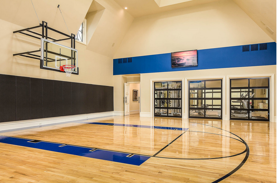 Indoor basketball courts homes of the rich for House plans with indoor basketball court