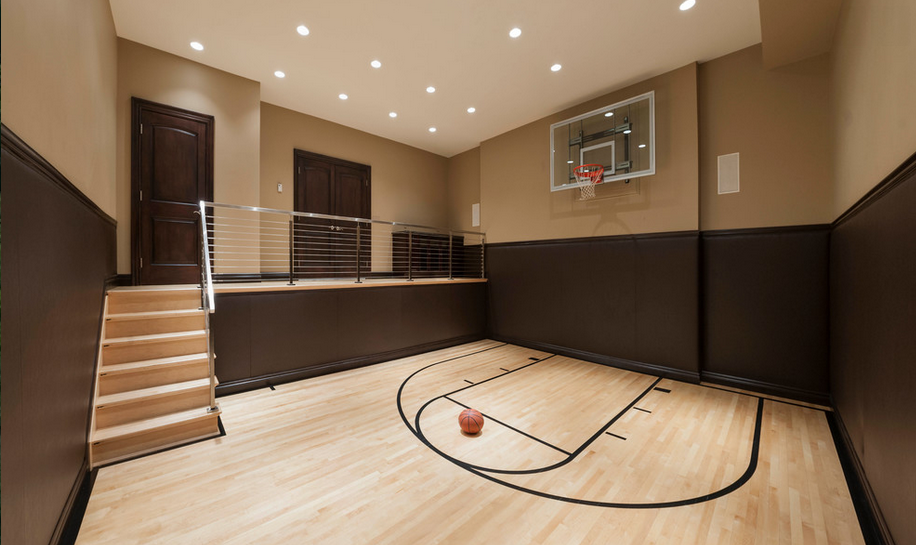 Indoor basketball courts homes of the rich for Basketball court inside house
