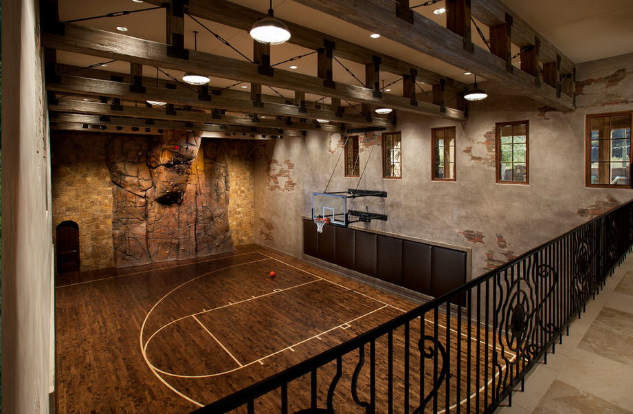 Indoor basketball courts homes of the rich for Home basketball court size