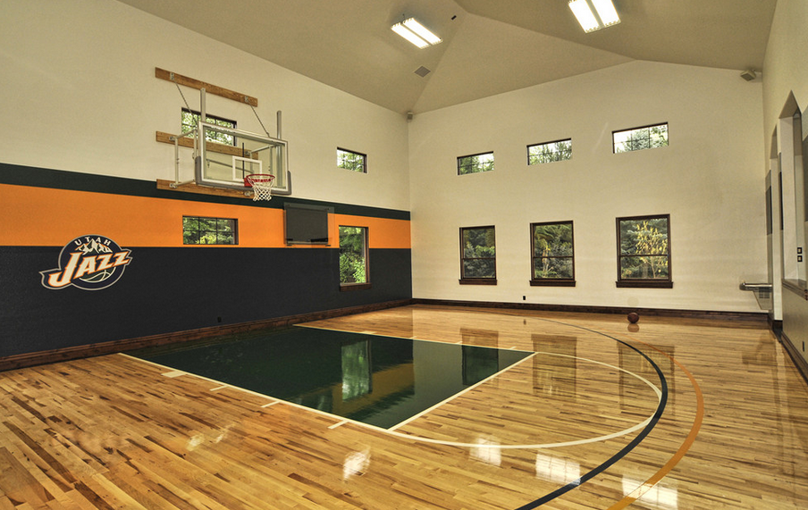 Home plans with indoor sports court for Residential basketball court cost