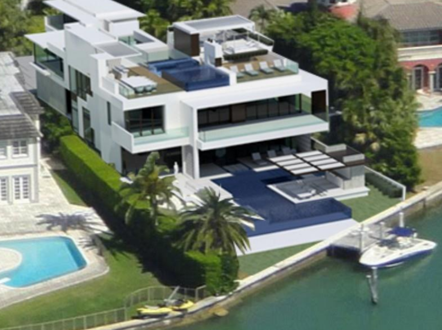 35 9 million modern waterfront mansion under construction for Modern florida homes