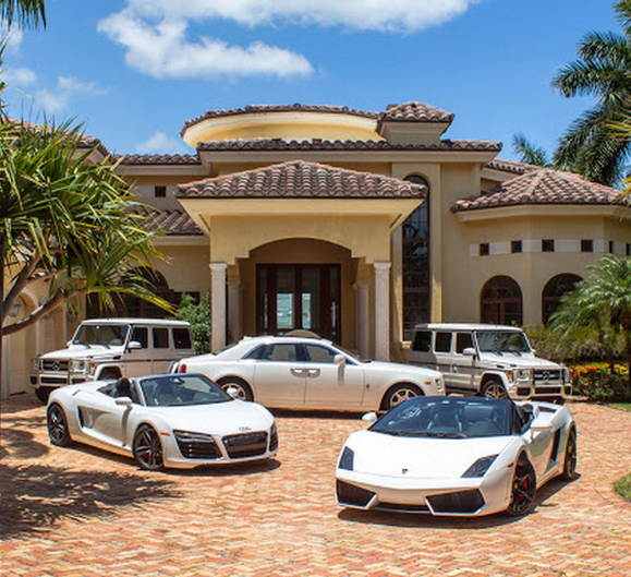 Mansion house with cars images for Car house