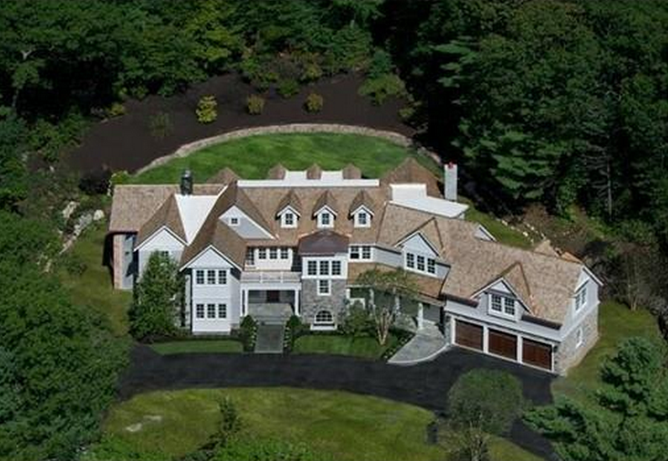 $6.8 Million Newly Built Stone & Shingle Colonial Mansion In Weston, MA