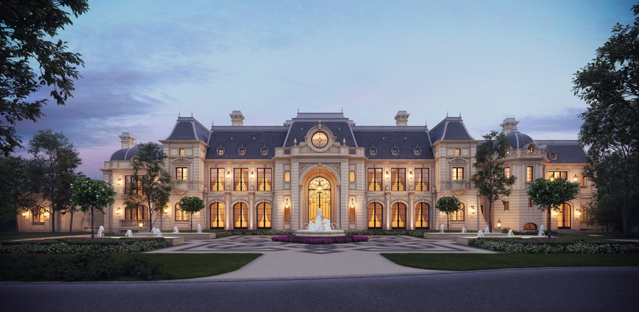 Stunning french chateau design from cg rendering homes for French luxury homes