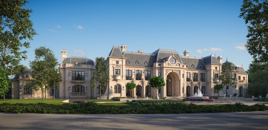 Stunning French Chateau Design From Cg Rendering on Neoclassical Mansion Floor Plans
