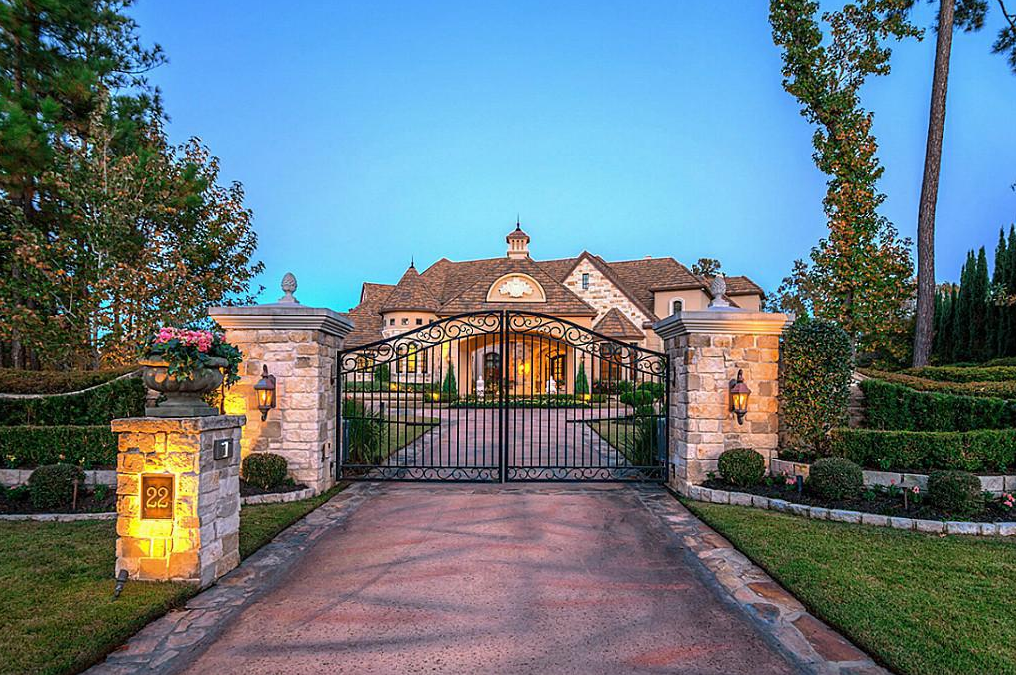 Stone Stucco Golf Course Mansion In The Woodlands TX