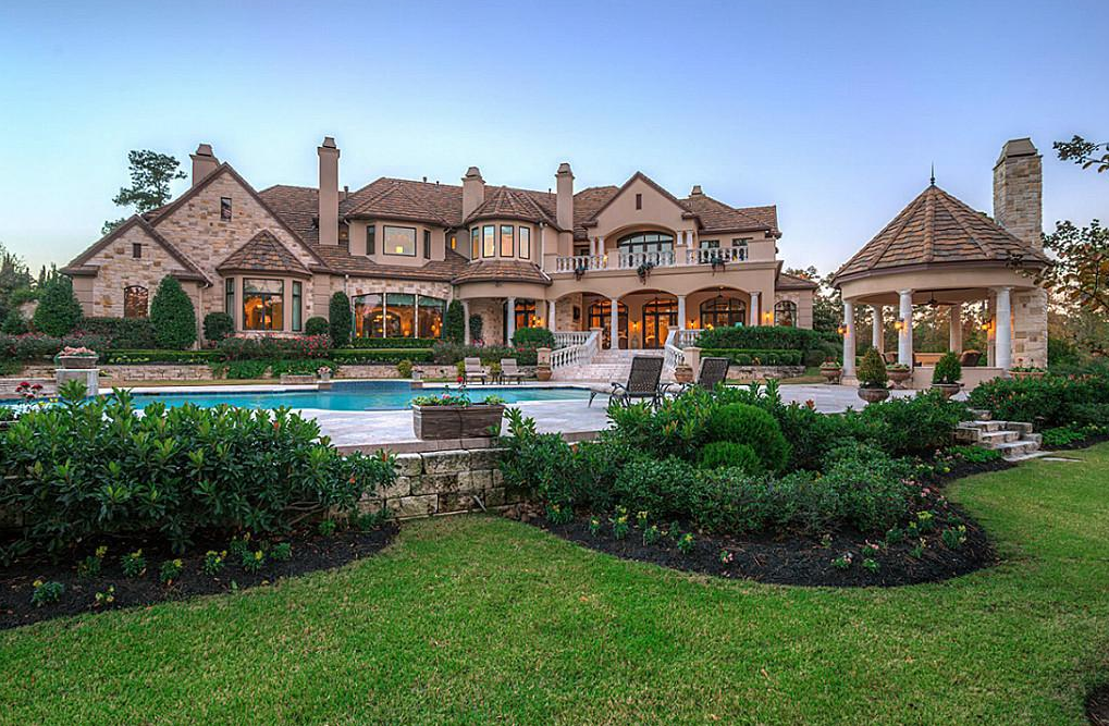 Stone Amp Stucco Golf Course Mansion In The Woodlands Tx