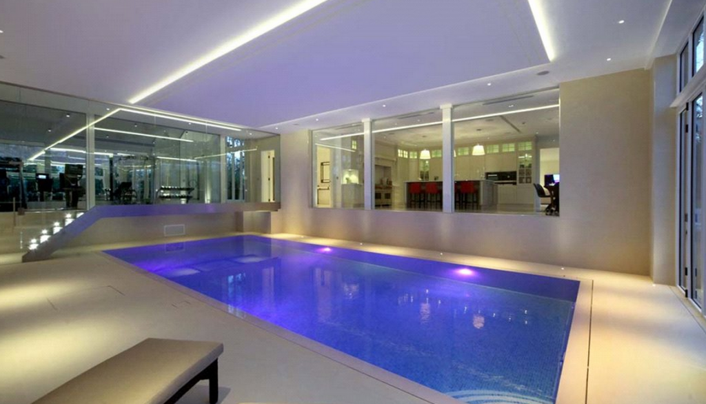 16 million 15 000 square foot newly built mansion in for Average square footage of a swimming pool