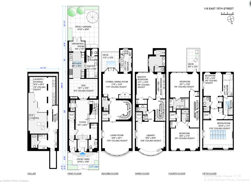 33 million 5 story townhouse in new york ny homes of for Townhouse floor plans