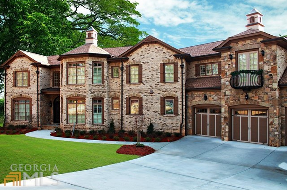 9000 Square Foot Newly Built Brick Stone Lakefront Mansion In Atlanta Ga on 4 Bedrooms House Plans With Front Garage