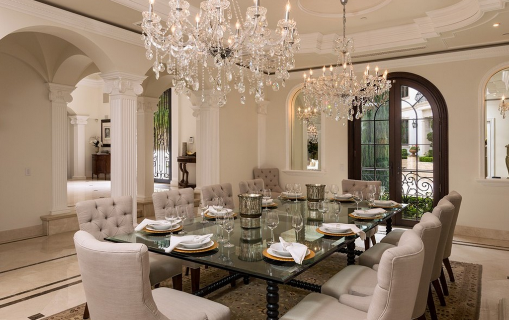 26 million newly built grand neoclassical estate in bel for Neoclassical dining room design