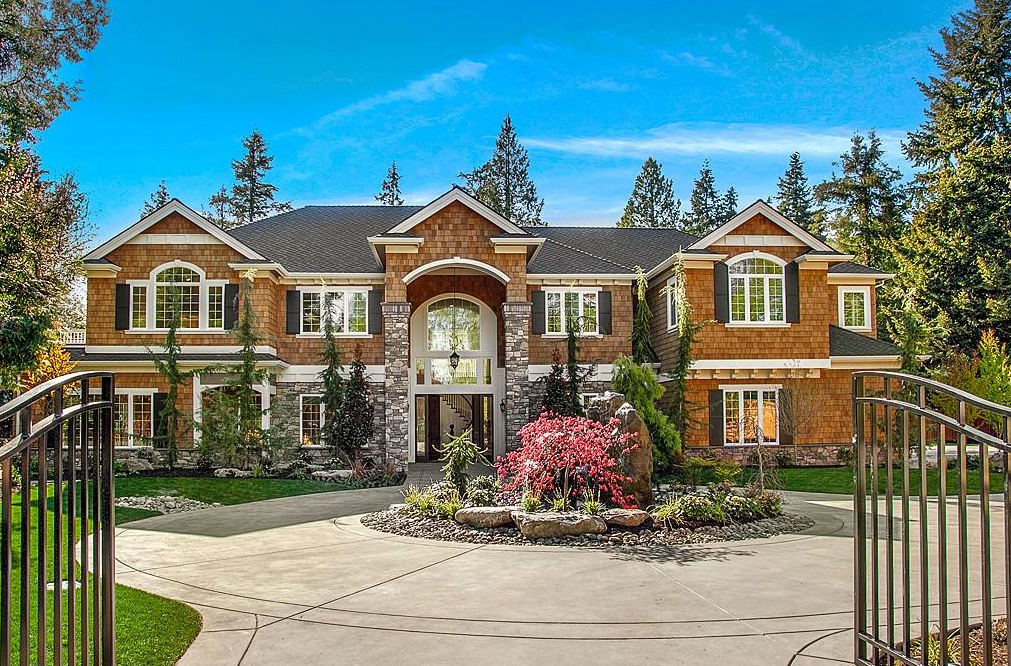4 1 million newly built shingle stone home in bellevue for Washington home builders
