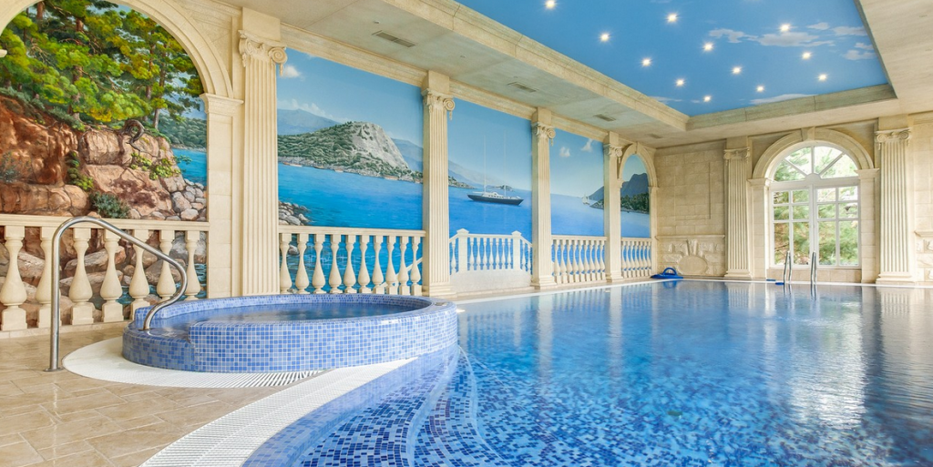 25 million newly listed 21 000 square foot mansion in for Average square footage of a swimming pool