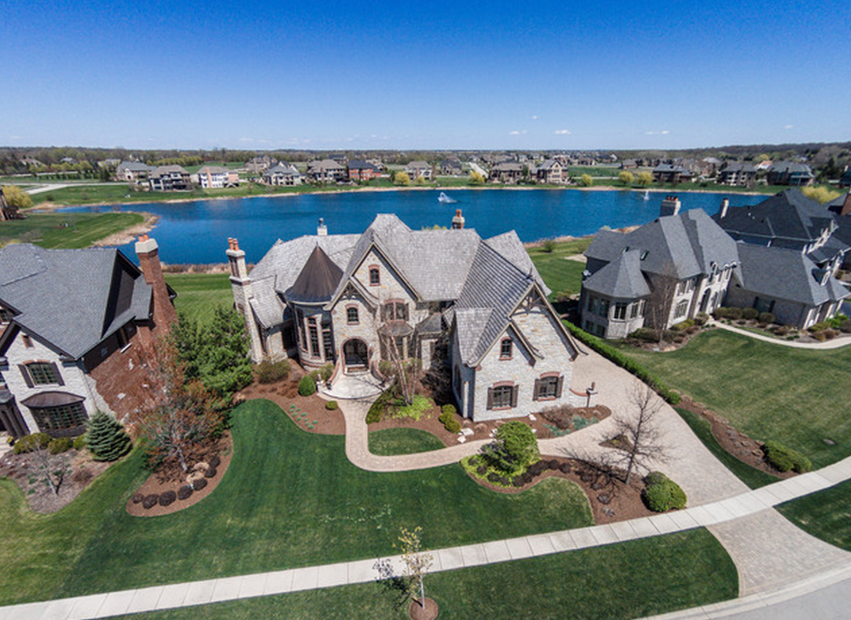 12 000 Square Foot Brick Amp Stone Lakefront Mansion In