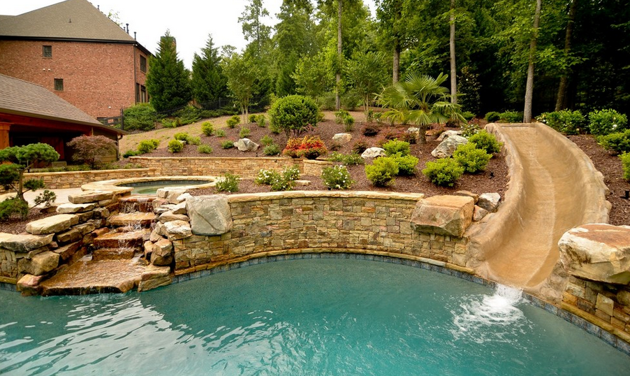 20 Awesome Swimming Pools With Water Slides Homes Of The