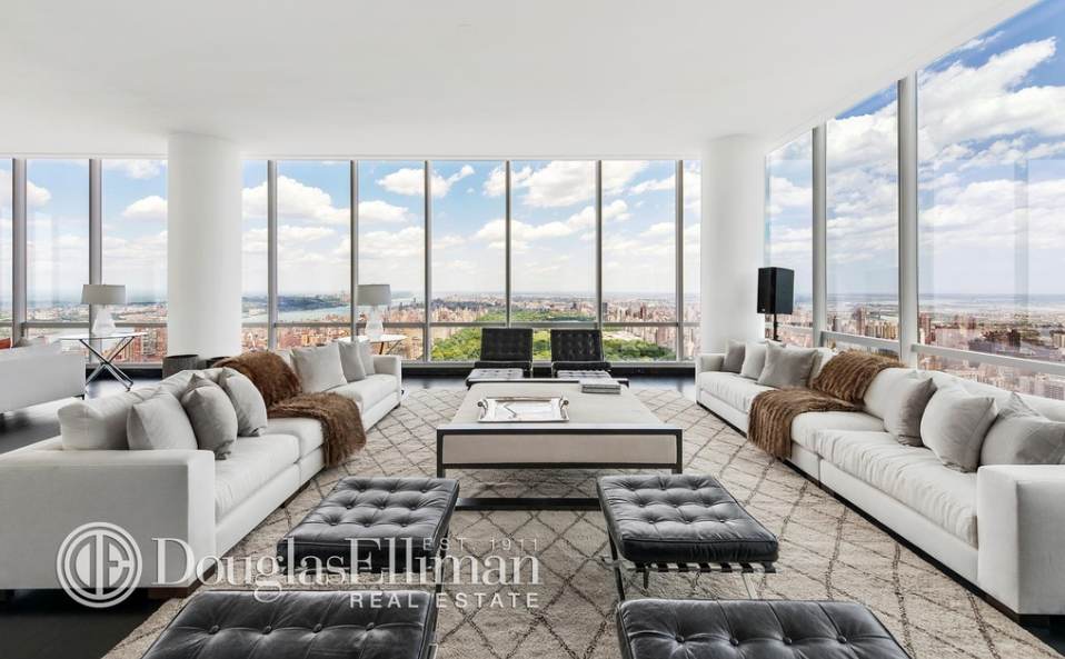 57 million newly listed penthouse in the exclusive one57 for Avenue u living room