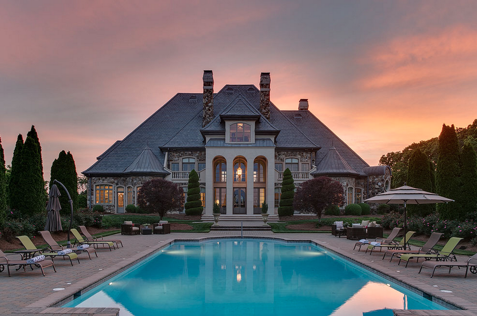 16 000 Square Foot French Inspired Stone Mansion In