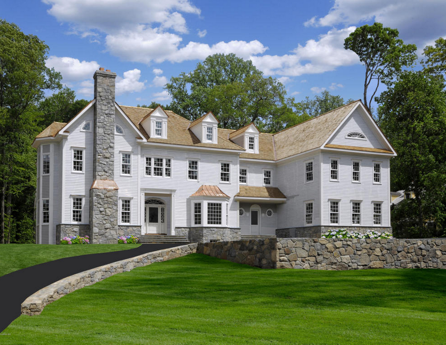 Million colonial clapboard mansion under for Building a house in ct