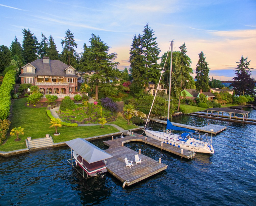 $6.488 Million Waterfront Brick Home In Bellevue, WA