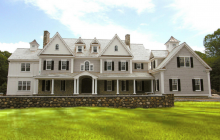 $5.125 Million Newly Built Stone & Shingle Colonial Mansion In New Canaan, CT