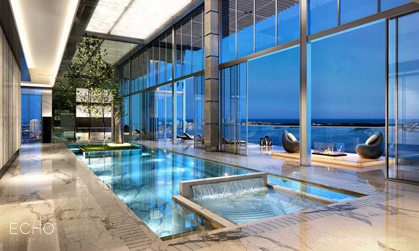 41 8 million duplex penthouse to be built at echo brickell in miami fl homes of the rich for Swimming pool construction miami