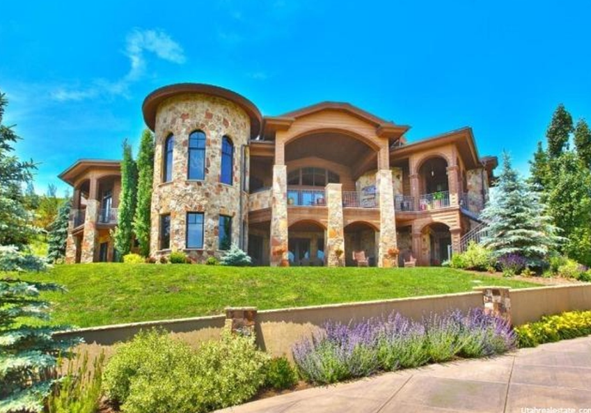 11,000 Square Foot Mountaintop Stone Mansion In Park City, UT