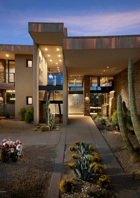 Million contemporary style stone stucco home in scottsdale az homes of the rich - Villa decor desert o architecture ...