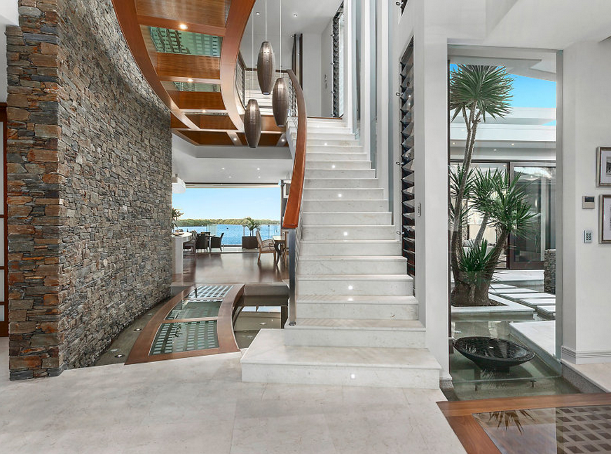 Foyer Stairs Qld : Million contemporary waterfront home in queensland