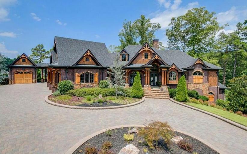 Lakefront Craftsman Style Brick Mansion In Gainesville, GA