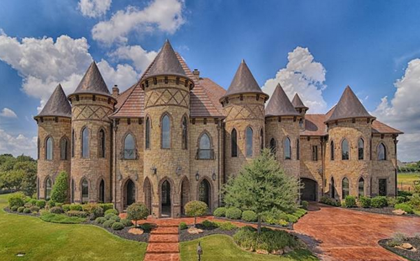 19,000 Square Foot Castle-Like Stone & Brick Mansion In Southlake, TX