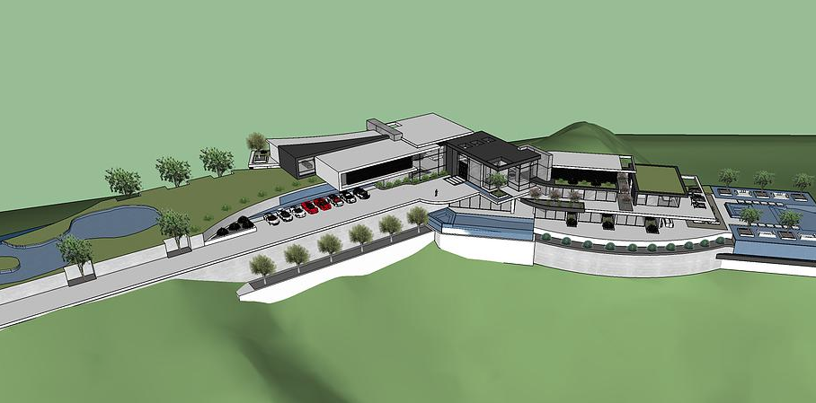50 000 square foot proposed modern mega mansion in beverly for Pool designs under 50 000
