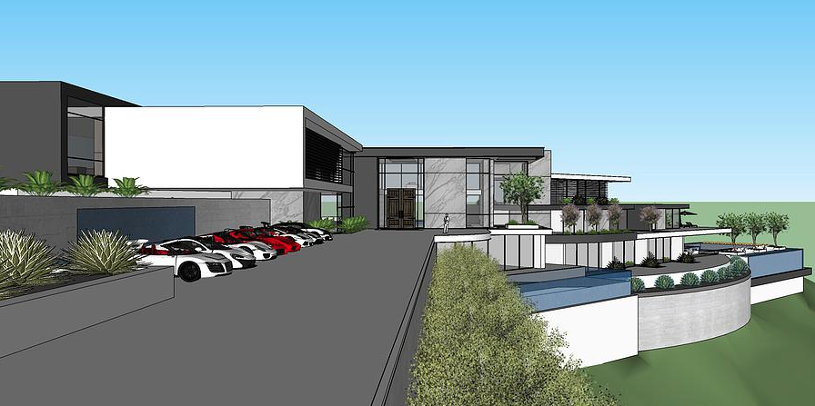 50 000 square foot proposed modern mega mansion in beverly for Modern mansions in beverly hills