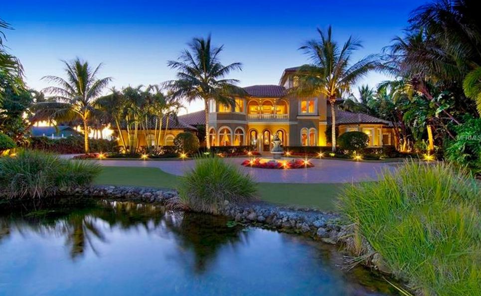 $5.2 Million Mediterranean Waterfront Estate In Nokomis, FL