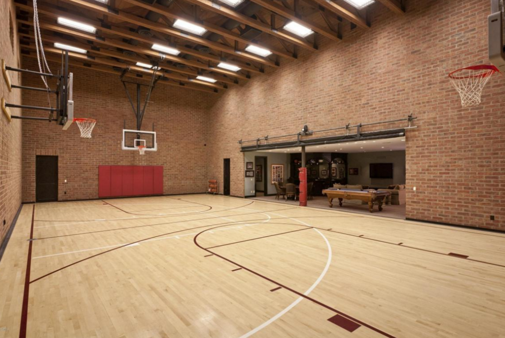 10 000 square foot spanish style stucco mansion in for Basketball courts for home