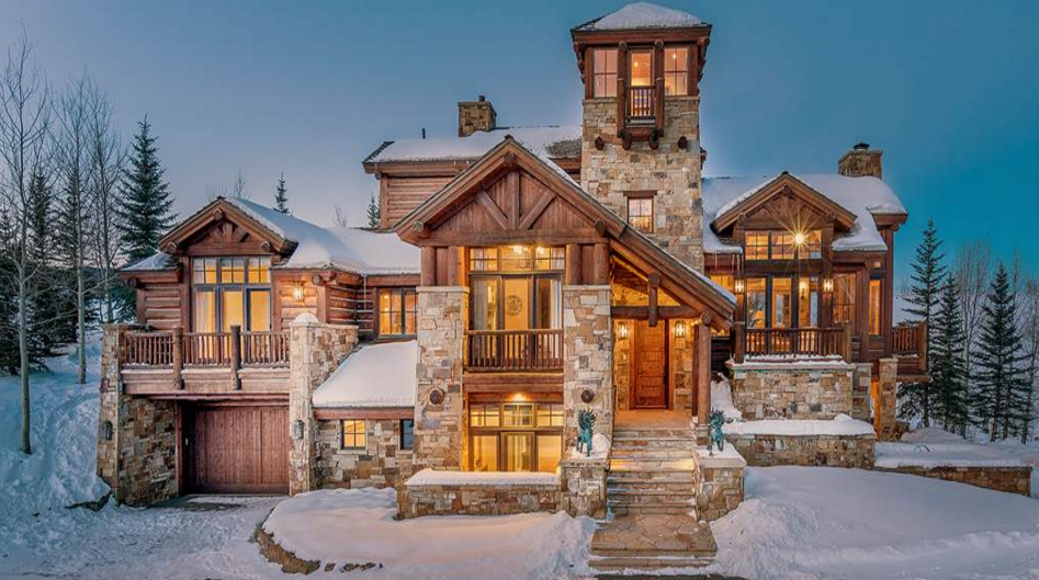 4 5 million log stone home in telluride co homes of for Log and stone homes