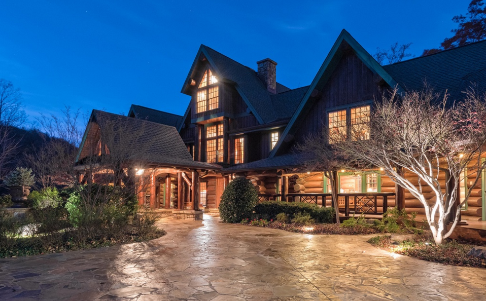 12,000 Square Foot Mountaintop Log Mansion In Landrum, SC